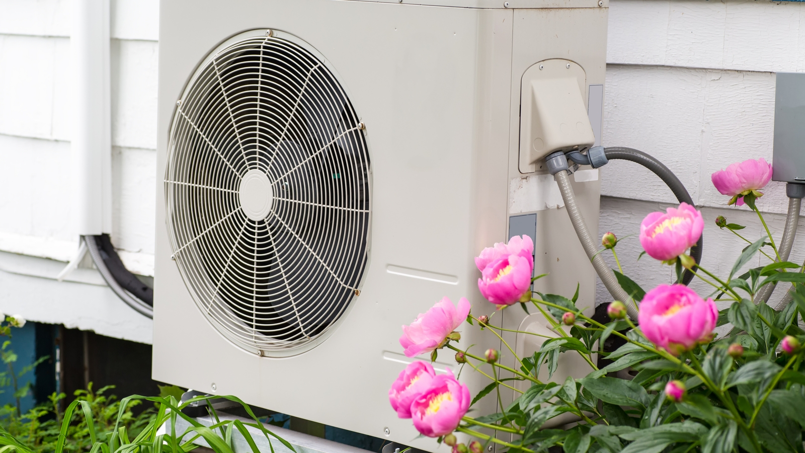 Heat Pump On Side of House Exterior Next to Pink Flowers